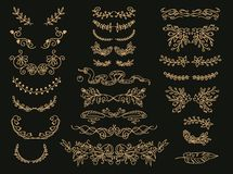 Ακμάστε τους διανυσματικούς διαιρέτες κειμένων καθορισμένους Χρυσοί floral εκλεκτής ποιότητας καλλωπισμοί, στεφάνια διανυσματική απεικόνιση