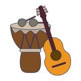 Ακουστικά κιθάρα και τύμπανο οργάνων μουσικής με τις μπλε γραμμές ραβδιών διανυσματική απεικόνιση