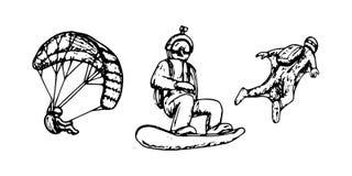 Αλεξιπτωτιστής, ελεύθερη πτώση με αλεξίπτωτο, snowboarder, σύνολο σκίτσων ακραίος αθλητισμός ελεύθερη απεικόνιση δικαιώματος