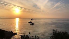 Αλιευτικά σκάφη στο ηλιοβασίλεμα με seagulls φιλμ μικρού μήκους