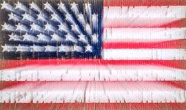 Αμερικανική σημαία σε μια μπλούζα ενός στρατιώτη αμερικάνικων στρατών Ζουμ στη μακροχρόνια έκθεση Εκλεκτική εστίαση στοκ φωτογραφία με δικαίωμα ελεύθερης χρήσης