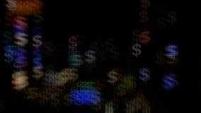 Ανάβει bokeh υπό μορφή δολαρίων και θαμπάδας Φωτεινό υπόβαθρο για το βίντεο ή τις παρουσιάσεις απόθεμα βίντεο