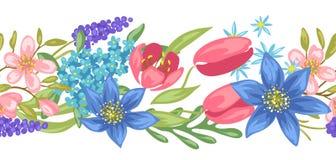 ανασκόπησης ατελείωτο λουλουδιών κεραμίδι άνοιξη προτύπων άνευ ραφής απεικόνιση αποθεμάτων