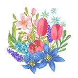 Ανθοδέσμη με τα λουλούδια άνοιξη διανυσματική απεικόνιση
