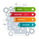 Ανθρώπινος επικεφαλής infographic Το παγκόσμιο επιχειρηματικό πεδίο επεξεργάζεται τις εννοιολογικές ιδέες στο διανυσματικό πρότυπ διανυσματική απεικόνιση