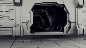Ανοικτή πόρτα υπόστεγων στο διαστημικό σκάφος Πίσω από την πόρτα είναι μια σκοτεινή σήραγγα τρισδιάστατη απόδοση ελεύθερη απεικόνιση δικαιώματος