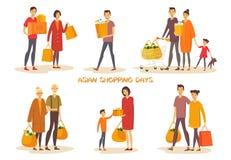 Ασιατικοί άνθρωποι ή ασιατικός άνδρας, γυναίκα στις αγορές στοκ εικόνες