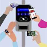Ασύρματες ανέπαφες cashless κάρτα και συσκευή πληρωμών, rfid και nfc διανυσματική απεικόνιση