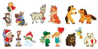 Αστείες εικόνες για τα παιδιά και το σχέδιο των διάφορων προϊόντων παιδιών s, κάρτες, βιβλία απεικόνιση αποθεμάτων