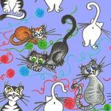 Αστείο plaing μπλε backround γατών απεικόνιση αποθεμάτων