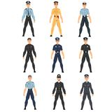 Αστυνομικοί καθορισμένοι, ομοιόμορφος των αστυνομικών της διαφορετικής διανυσματικής απεικόνισης χωρών απεικόνιση αποθεμάτων