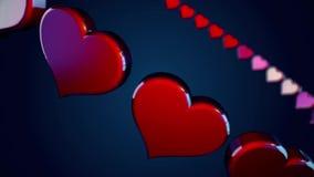 Αφηρημένες κόκκινες καρδιές που πετούν και που περιστρέφονται σε έναν κύκλο στο σκούρο μπλε υπόβαθρο, άνευ ραφής βρόχος Όμορφη κί διανυσματική απεικόνιση