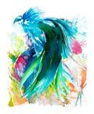 Αφηρημένη ζωγραφική τέχνης υδατοχρώματος Macaw μπλε στοκ εικόνα