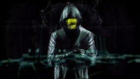 Αφηρημένη ζωτικότητα του ολογράμματος του χάκερ με το unrecognizable πρόσωπο στο γκρίζο σακάκι με hoody σε ένα υπόβαθρο εργοστασί απεικόνιση αποθεμάτων