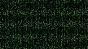 Αφηρημένος δυαδικός κώδικας μητρών πράσινος διανυσματική απεικόνιση