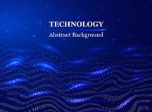 Αφηρημένος δυαδικός κώδικας στο ύφος των κυμάτων σε ένα μπλε υπόβαθρο τεχνολογική έννοια σχεδίου των ψηφιακών τεχνολογιών στοκ εικόνα