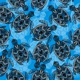 Αφηρημένο άνευ ραφής σχέδιο με τη χελώνα διανυσματική απεικόνιση