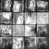 Αφηρημένο γεωμετρικό άνευ ραφής σχέδιο με τα τετράγωνα watercolour έργο τέχνης στοκ φωτογραφία