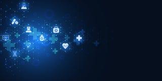 Αφηρημένο ιατρικό υπόβαθρο με τα επίπεδα εικονίδια και τα σύμβολα Έννοιες και ιδέες για την τεχνολογία υγειονομικής περίθαλψης, κ ελεύθερη απεικόνιση δικαιώματος
