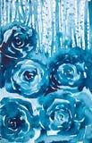 Αφηρημένο κατασκευασμένο υπόβαθρο απεικόνισης watercolor με μορφή των μπλε σπειροειδών κύκλων και του δάσους ελεύθερη απεικόνιση δικαιώματος