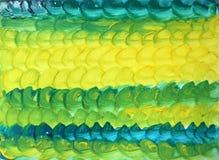 Αφηρημένο κατασκευασμένο πράσινος-κίτρινο υπόβαθρο Watercolor με στρογγυλό brushstrokes απεικόνιση αποθεμάτων