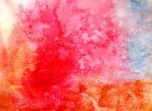 Αφηρημένο κόκκινο υπόβαθρο watercolor στο έγγραφο ως λουλούδι ανθών ελεύθερη απεικόνιση δικαιώματος