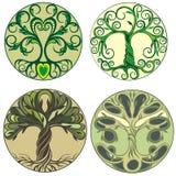 Αφηρημένο δονούμενο σχέδιο λογότυπων δέντρων Διανυσματικό σχέδιο εικονιδίων δέντρων διανυσματική απεικόνιση