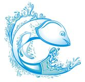 Αφηρημένο σχέδιο λογότυπων νερού ψαριών συμβόλων ελεύθερη απεικόνιση δικαιώματος