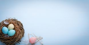 Αυγά Πάσχας σε μια φωλιά σε ένα χρωματισμένο υπόβαθρο στοκ εικόνες με δικαίωμα ελεύθερης χρήσης