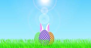 Αυγά Πάσχας στον τομέα, με την κίνηση των άσπρων αυτιών λαγουδάκι απόθεμα βίντεο