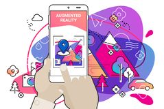 Αυξημένη amoeba πραγματικότητας κινητή app ύφους έννοια ελεύθερη απεικόνιση δικαιώματος