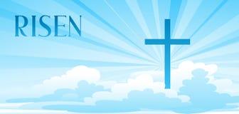 αυξημένος όλο το κλειστό Πάσχα επιμελείται eps8 τη δυνατότητα μερών απεικόνισης Ευχετήρια κάρτα με το σταυρό και τα σύννεφα ελεύθερη απεικόνιση δικαιώματος