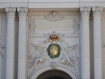 Αυστρία, Βιέννη, έξοχη αρχιτεκτονική των τοίχων πετρών των κτηρίων στοκ φωτογραφίες