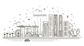 Απεικόνιση οριζόντων γραμμών αρχιτεκτονικής της Σιγκαπούρης Γραμμική διανυσματική εικονική παράσταση πόλης με τα διάσημα ορόσημα στοκ φωτογραφία με δικαίωμα ελεύθερης χρήσης