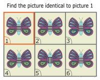 Απεικόνιση της εύρεσης δύο ίδιων εικόνων Εκπαιδευτικό παιχνίδι για τα παιδιά Πεταλούδα ελεύθερη απεικόνιση δικαιώματος