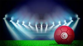 απεικόνιση της ρεαλιστικής σφαίρας ποδοσφαίρου που χρωματίζεται στη εθνική σημαία Tunissia στο αναμμένο στάδιο Το διάνυσμα μπορεί διανυσματική απεικόνιση
