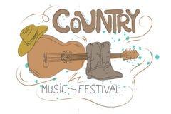 Απεικόνιση country μουσικής με την κιθάρα, τα παπούτσια κάουμποϋ και το καπέλο ελεύθερη απεικόνιση δικαιώματος