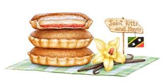 Απεικόνιση Watercolor της παραδοσιακής γλυκιάς πίτας της αγωνίας Σαιντ Κιτς και Νέβις της αγάπης διανυσματική απεικόνιση