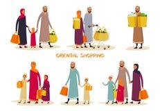 Απλοί άνθρωποι κινούμενων σχεδίων στις αγορές, οικογένεια στη λεωφόρο στοκ εικόνα με δικαίωμα ελεύθερης χρήσης