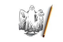 Αποκριές, φάντασμα, τρομακτικό, φρίκη, έννοια διασκέδασης Συρμένο χέρι απομονωμένο διάνυσμα απεικόνιση αποθεμάτων
