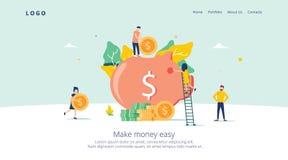 Αποταμίευση χοίρων χρημάτων για την προσγειωμένος σελίδα κέρδους Απόκτηση κατάθεσης χρηματοδότησης με το εικονίδιο νομισμάτων Σύμ απεικόνιση αποθεμάτων