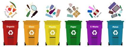 Απόβλητα απορριμάτων που ταξινομούν τη διανυσματική απεικόνιση διανυσματική απεικόνιση