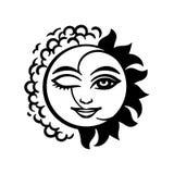 Απόκρυφο σύμβολο - τα τυποποιημένα πρόσωπα του φεγγαριού και του ήλιου ένωσαν έναν δίσκο, που περιβλήθηκε σε από τα αστέρια σαν δ ελεύθερη απεικόνιση δικαιώματος