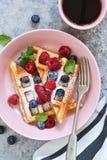 Βάφλες βανίλιας με το μούρο σε ένα πιάτο για το πρόγευμα στοκ φωτογραφίες με δικαίωμα ελεύθερης χρήσης