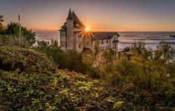 Βίλα Belza στο ηλιοβασίλεμα σε Μπιαρίτζ, βασκική χώρα στοκ φωτογραφίες