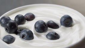 Βακκίνιο που πέφτει μέσα στο ράντισμα γιαουρτιού σε σε αργή κίνηση φιλμ μικρού μήκους