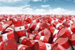 βαρέλια κοκκίνου πετρε&la Πετρέλαιο και βιομηχανία φυσικού αερίου, αποθήκευση, κατασκευή Χημική έννοια αποβλήτων ρύπανσης και βιο στοκ εικόνες