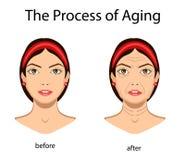 Βασικά σημάδια της γήρανσης, διανυσματική απεικόνιση που απομονώνεται διανυσματική απεικόνιση