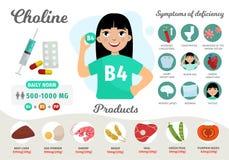 Βιταμίνη B4 Infographics απεικόνιση αποθεμάτων