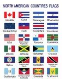 Βορειοαμερικανικές σημαίες χωρών διανυσματική απεικόνιση